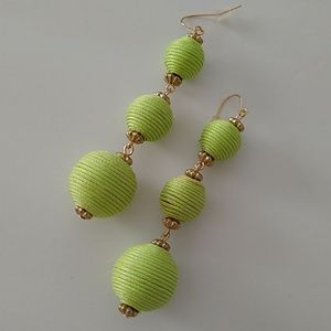 Green ball dangle earrings nwt